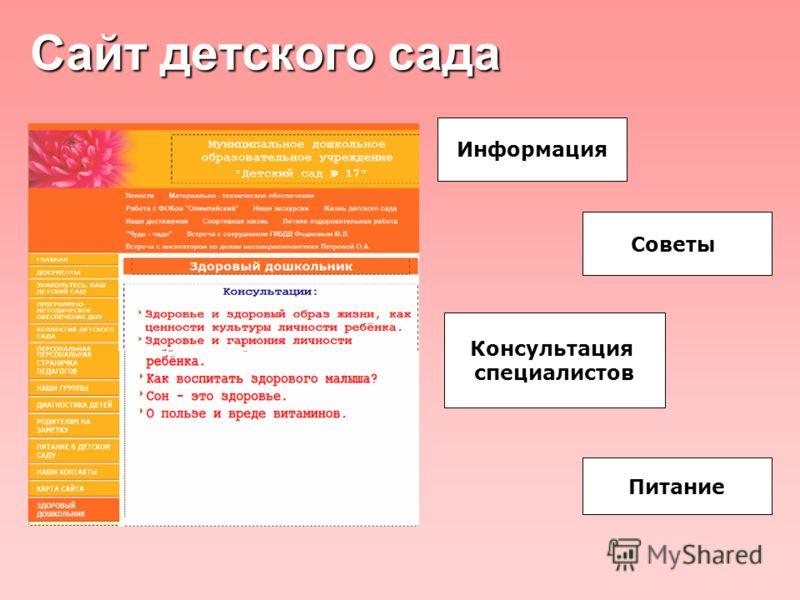 Сайт детского сада Информация Советы Консультация специалистов Питание
