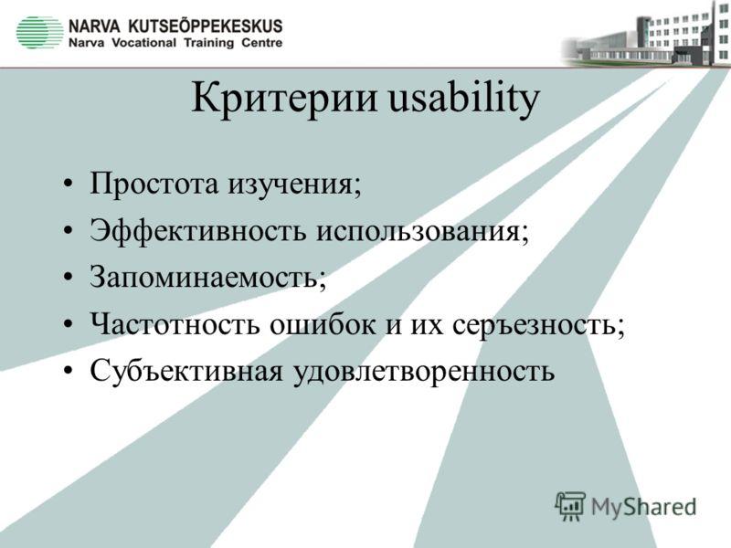 Критерии usability Простота изучения; Эффективность использования; Запоминаемость; Частотность ошибок и их серъезность; Субъективная удовлетворенность