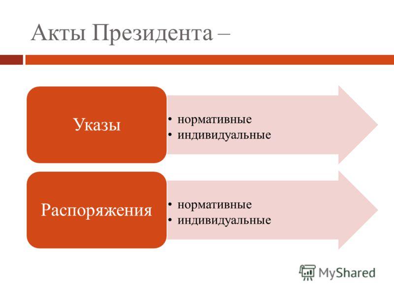 Акты Президента – нормативные индивидуальные Указы нормативные индивидуальные Распоряжения