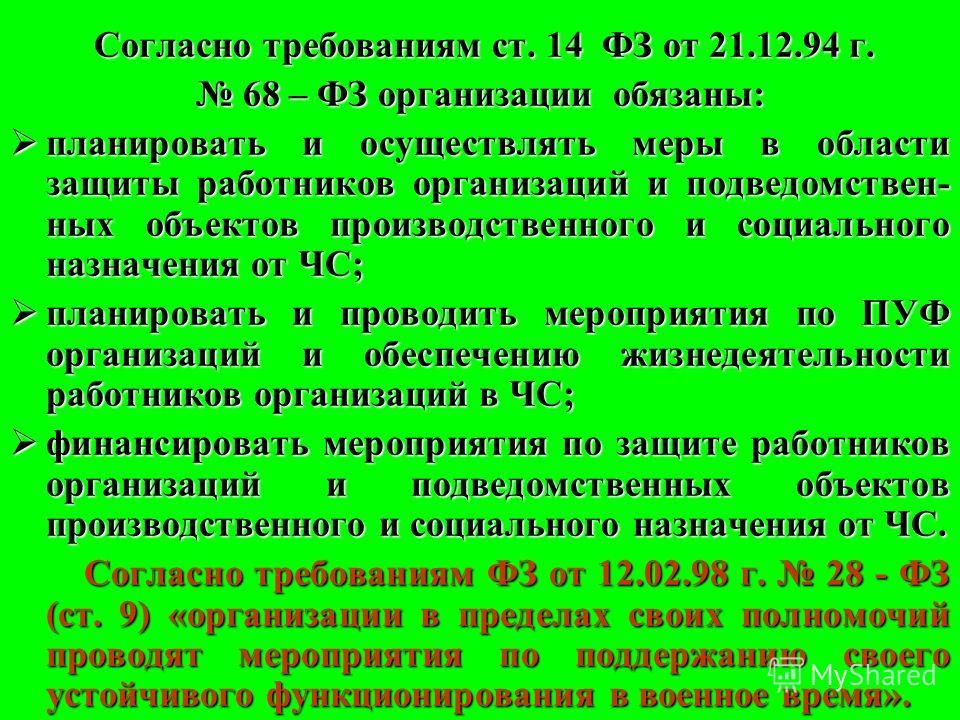 Согласно требованиям ст. 14 ФЗ от 21.12.94 г. 68 – ФЗ организации обязаны: 68 – ФЗ организации обязаны: планировать и осуществлять меры в области защи