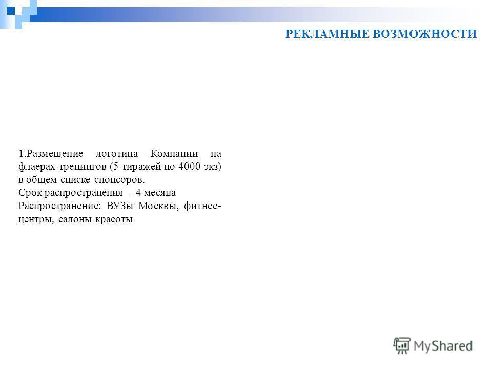 РЕКЛАМНЫЕ ВОЗМОЖНОСТИ 1.Размещение логотипа Компании на флаерах тренингов (5 тиражей по 4000 экз) в общем списке спонсоров. Срок распространения – 4 месяца Распространение: ВУЗы Москвы, фитнес- центры, салоны красоты