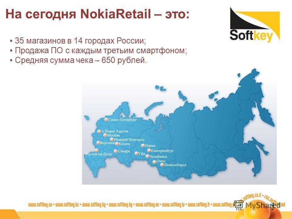 На сегодня NokiaRetail – это: 4 35 магазинов в 14 городах России; Продажа ПО с каждым третьим смартфоном; Средняя сумма чека – 650 рублей.