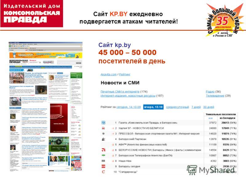 Сайт kp.by 45 000 – 50 000 посетителей в день Сайт KP.BY ежедневно подвергается атакам читателей!