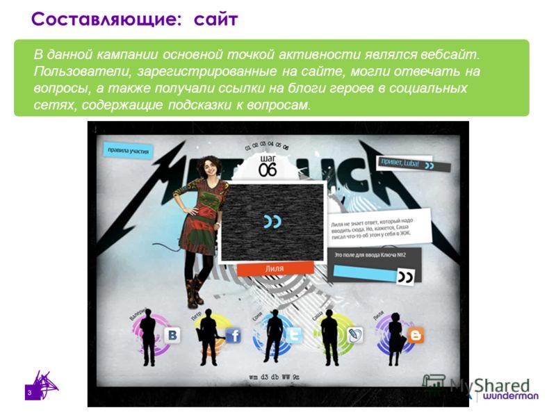 3 В данной кампании основной точкой активности являлся вебсайт. Пользователи, зарегистрированные на сайте, могли отвечать на вопросы, а также получали ссылки на блоги героев в социальных сетях, содержащие подсказки к вопросам. Составляющие: сайт