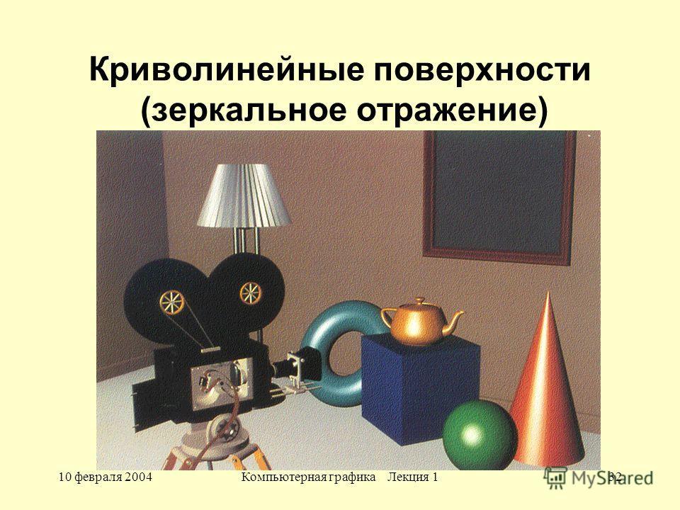 10 февраля 2004Компьютерная графика Лекция 132 Криволинейные поверхности (зеркальное отражение)