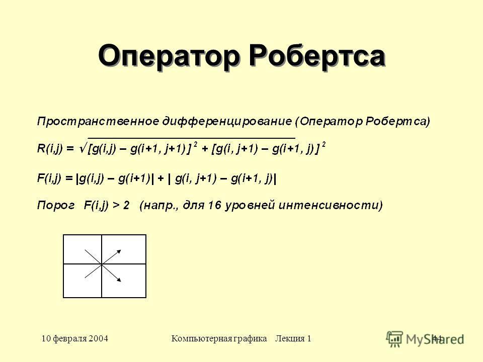 10 февраля 2004Компьютерная графика Лекция 144 Оператор Робертса