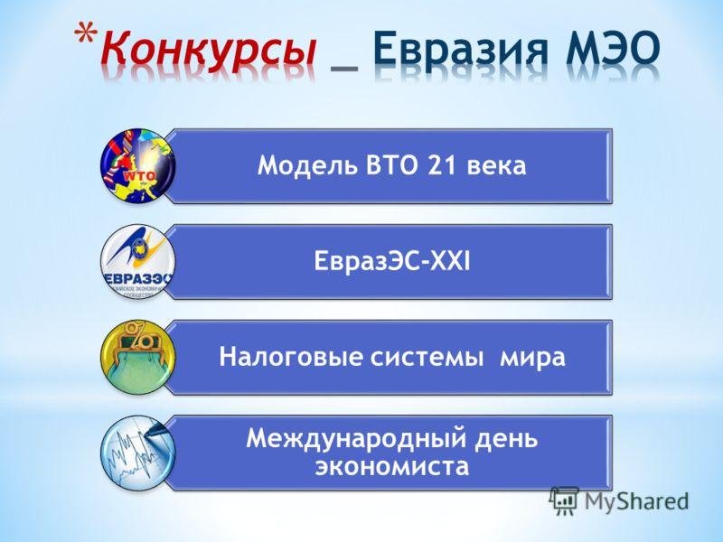 Модель ВТО 21 века ЕвразЭС-XXI Налоговые системы мира Международный день экономиста