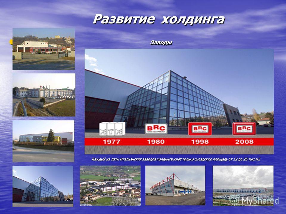 Развитие холдинга Развитие холдинга Заводы Заводы Каждый из пяти Итальянских заводов холдинга имет только складскую площадь от 12 до 25 тыс.м2