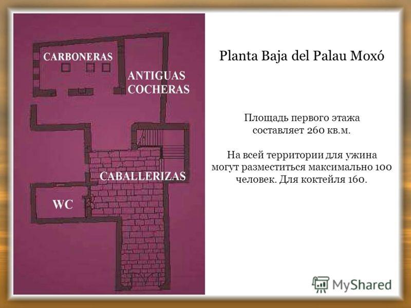 Planta Baja del Palau Moxó Площадь первого этажа составляет 260 кв.м. На всей территории для ужина могут разместиться максимально 100 человек. Для коктейля 160.