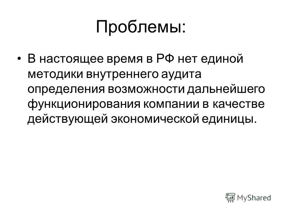 Проблемы: В настоящее время в РФ нет единой методики внутреннего аудита определения возможности дальнейшего функционирования компании в качестве действующей экономической единицы.
