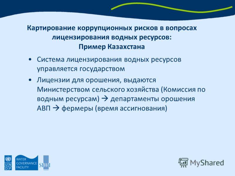 Картирование коррупционных рисков в вопросах лицензирования водных ресурсов: Пример Казахстана Система лицензирования водных ресурсов управляется государством Лицензии для орошения, выдаются Министерством сельского хозяйства (Комиссия по водным ресур