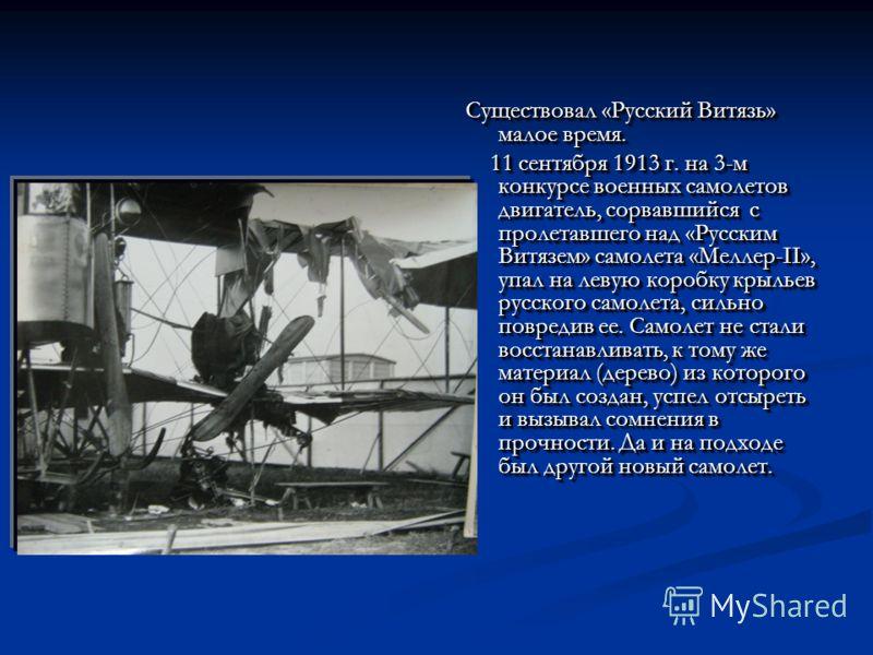 Существовал «Русский Витязь» малое время. 11 сентября 1913 г. на 3-м конкурсе военных самолетов двигатель, сорвавшийся с пролетавшего над «Русским Витязем» самолета «Меллер-II», упал на левую коробку крыльев русского самолета, сильно повредив ее. Сам