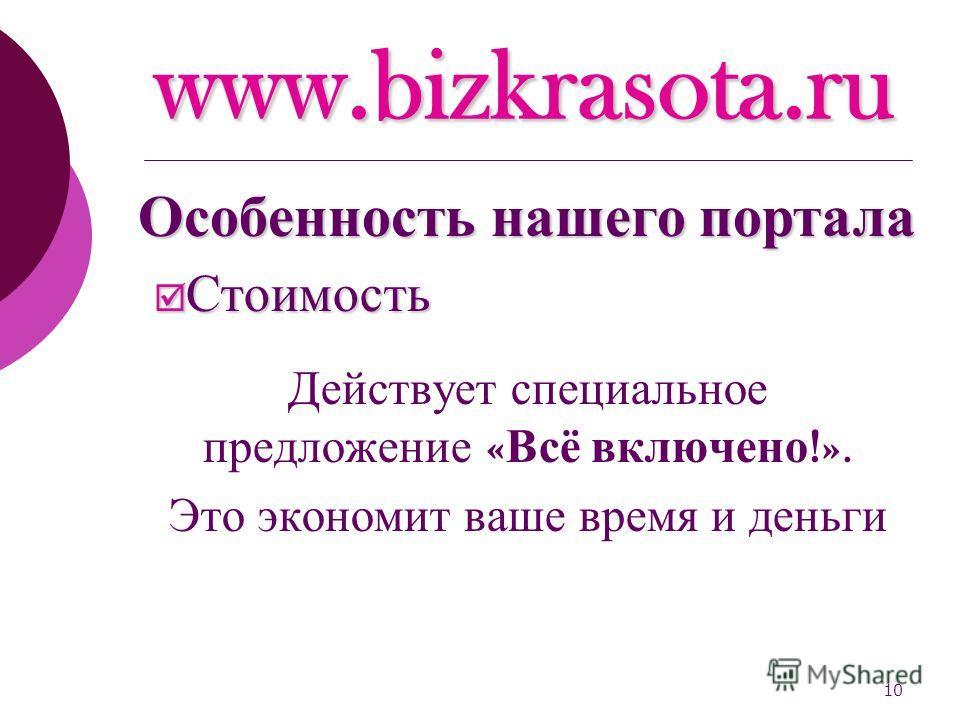 10 www.bizkrasota.ru Стоимость Стоимость Действует специальное предложение « Всё включено !». Это экономит ваше время и деньги Особенность нашего портала
