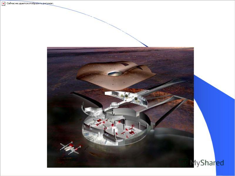 Внутреннее устройство. Терминал занимает весь второй этаж и часть первого. На первом же этаже космопорта паркуются сами космические корабли: