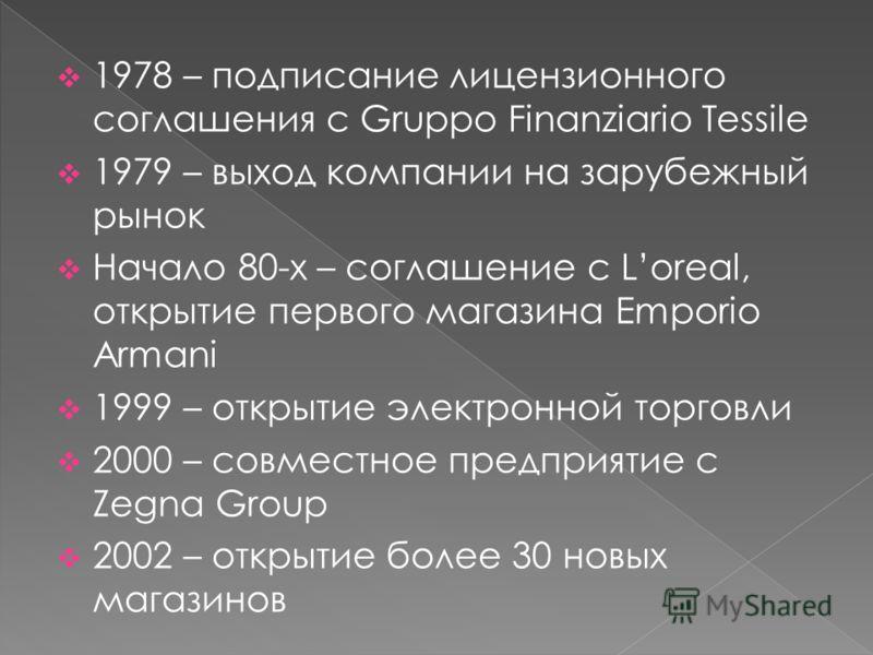 1978 – подписание лицензионного соглашения с Gruppo Finanziario Tessile 1979 – выход компании на зарубежный рынок Начало 80-х – соглашение с Loreal, открытие первого магазина Emporio Armani 1999 – открытие электронной торговли 2000 – совместное предп