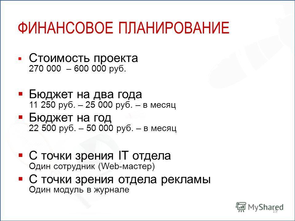 ФИНАНСОВОЕ ПЛАНИРОВАНИЕ Стоимость проекта 270 000 – 600 000 руб. Бюджет на два года 11 250 руб. – 25 000 руб. – в месяц Бюджет на год 22 500 руб. – 50 000 руб. – в месяц С точки зрения IT отдела Один сотрудник (Web-мастер) С точки зрения отдела рекла