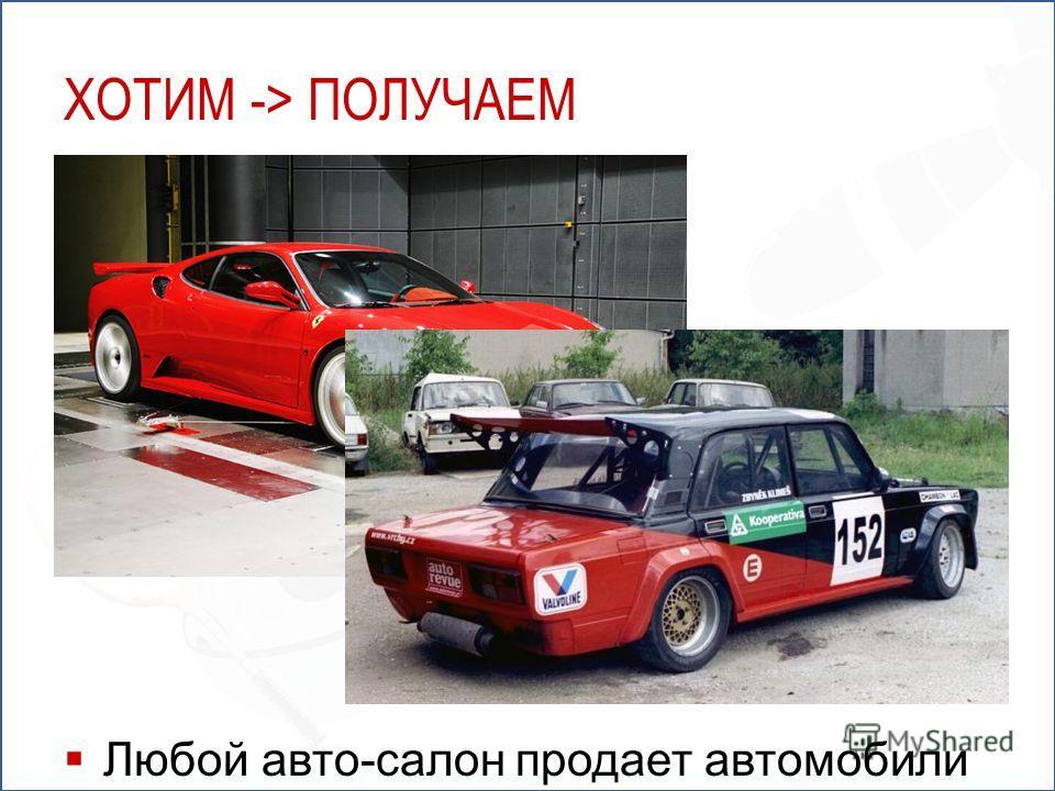ХОТИМ -> ПОЛУЧАЕМ Любой авто-салон продает автомобили