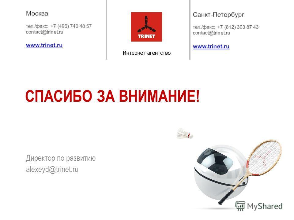 Директор по развитию alexeyd@trinet.ru СПАСИБО ЗА ВНИМАНИЕ!