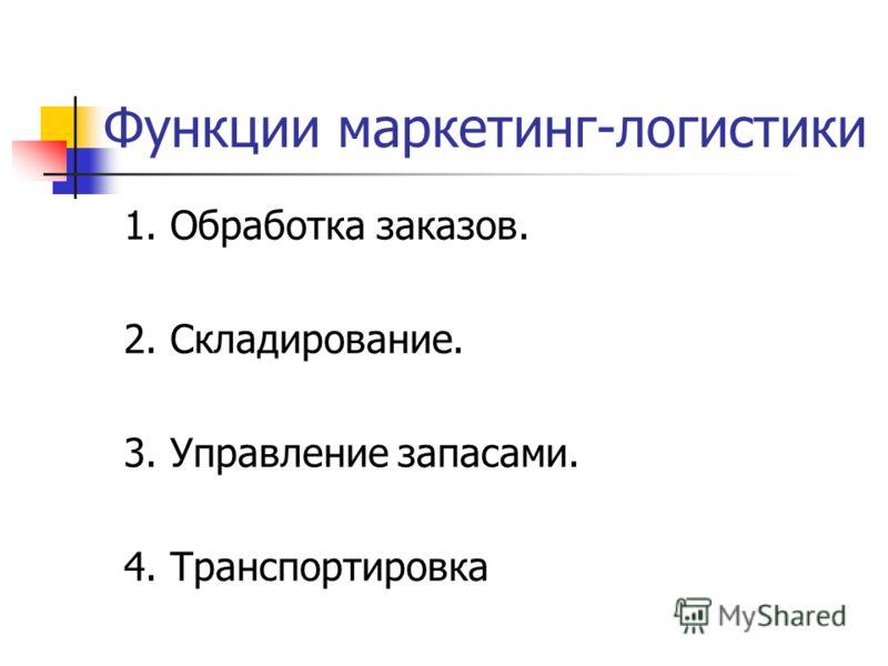 Функции маркетинг-логистики 1. Обработка заказов. 2. Складирование. 3. Управление запасами. 4. Транспортировка