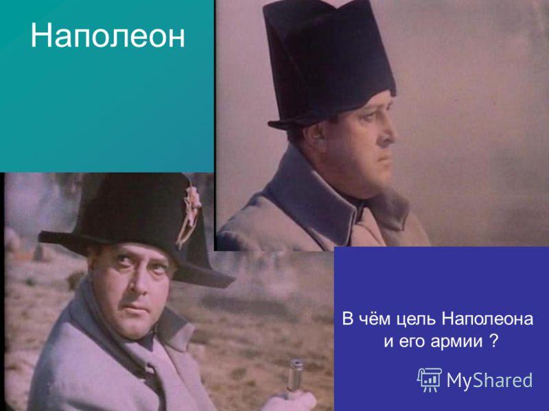 Наполеон В чём цель Наполеона и его армии ?