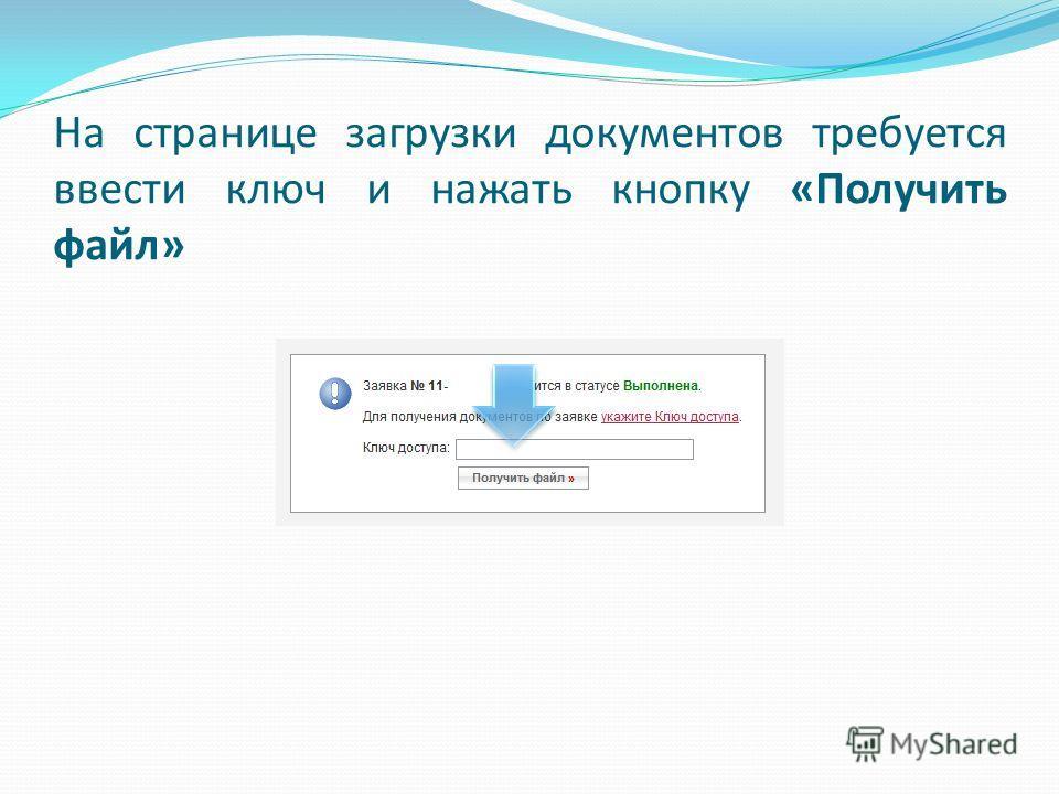 На странице загрузки документов требуется ввести ключ и нажать кнопку «Получить файл»