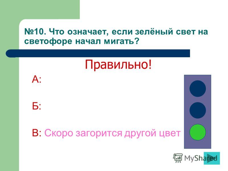 10. Что означает, если зелёный свет на светофоре начал мигать? А: Б: В: Скоро загорится другой цвет Правильно!