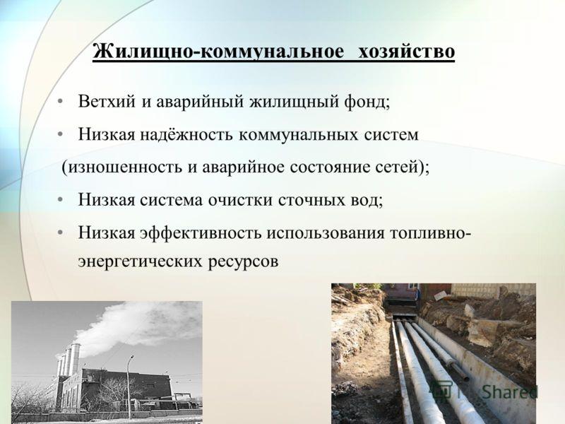 Жилищно-коммунальное хозяйство Ветхий и аварийный жилищный фонд; Низкая надёжность коммунальных систем (изношенность и аварийное состояние сетей); Низкая система очистки сточных вод; Низкая эффективность использования топливно- энергетических ресурсо