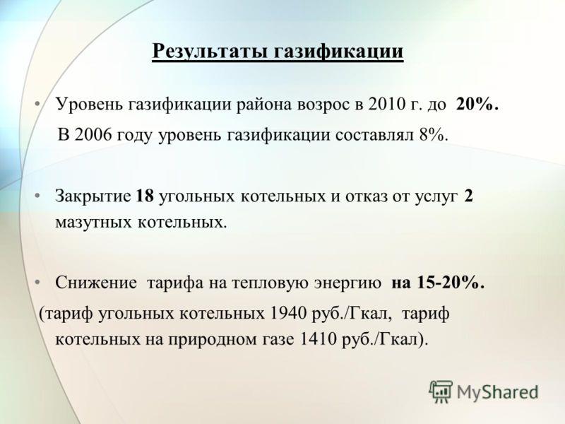 Результаты газификации Уровень газификации района возрос в 2010 г. до 20%. В 2006 году уровень газификации составлял 8%. Закрытие 18 угольных котельных и отказ от услуг 2 мазутных котельных. Снижение тарифа на тепловую энергию на 15-20%. (тариф уголь
