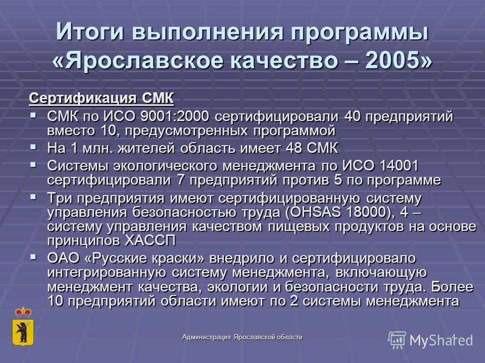 Администрация Ярославской области4 Итоги выполнения программы «Ярославское качество – 2005» Сертификация СМК СМК по ИСО 9001:2000 сертифицировали 40 предприятий вместо 10, предусмотренных программой СМК по ИСО 9001:2000 сертифицировали 40 предприятий