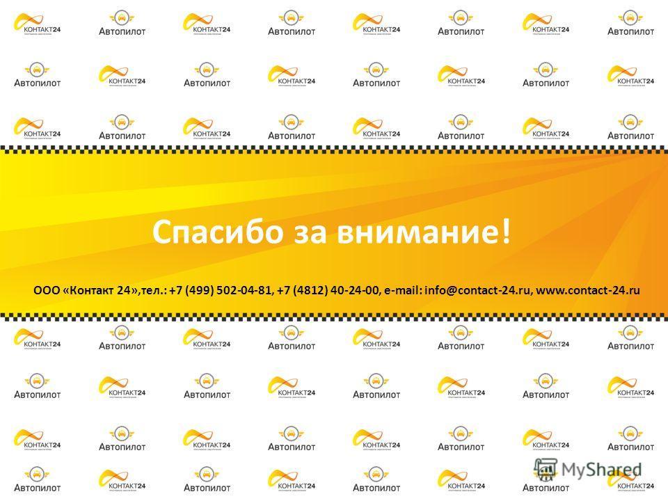 Спасибо за внимание! ООО «Контакт 24»,тел.: +7 (499) 502-04-81, +7 (4812) 40-24-00, e-mail: info@contact-24.ru, www.contact-24.ru