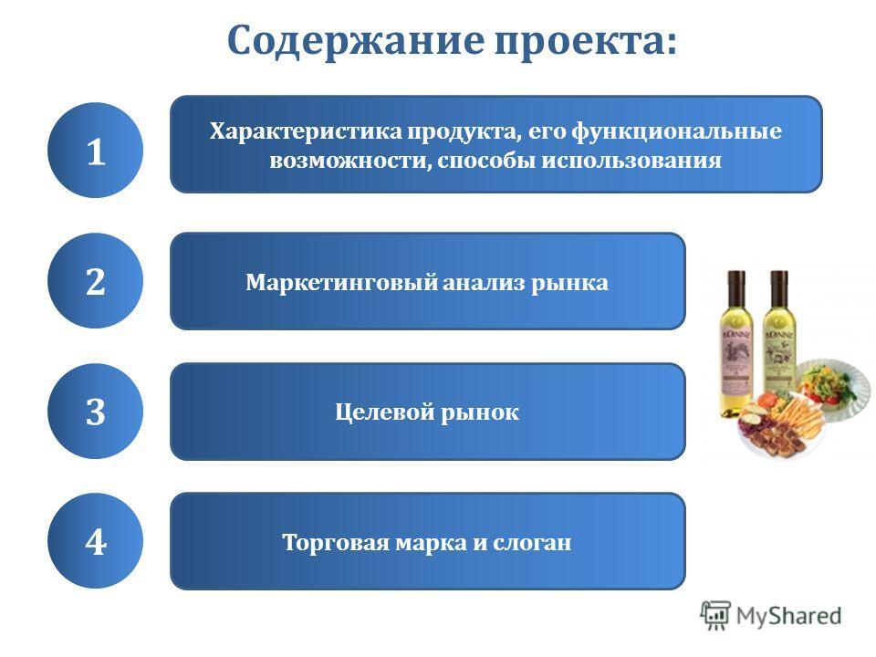 Содержание проекта: 1 Характеристика продукта, его функциональные возможности, способы использования 2 Маркетинговый анализ рынка 3 Целевой рынок 4 Торговая марка и слоган