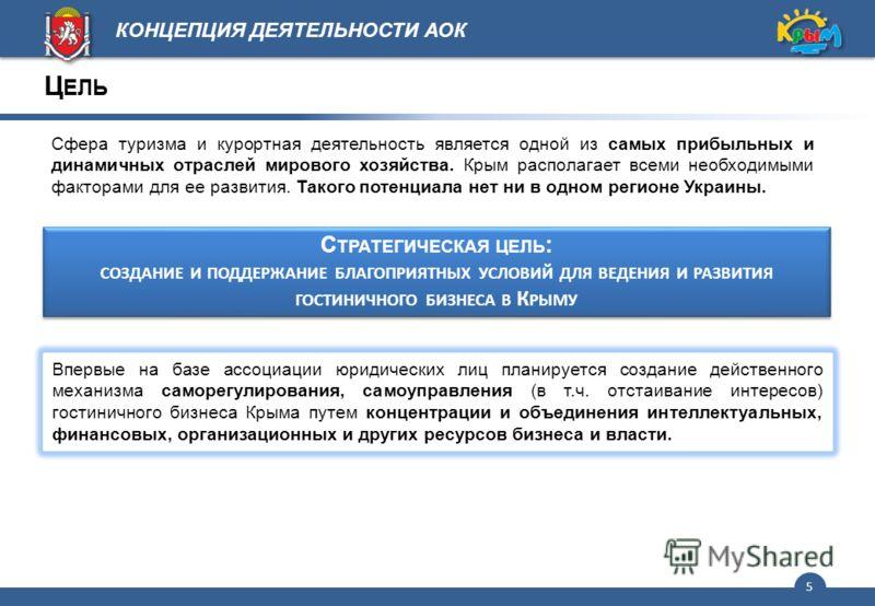 5 Сфера туризма и курортная деятельность является одной из самых прибыльных и динамичных отраслей мирового хозяйства. Крым располагает всеми необходимыми факторами для ее развития. Такого потенциала нет ни в одном регионе Украины. С ТРАТЕГИЧЕСКАЯ ЦЕЛ