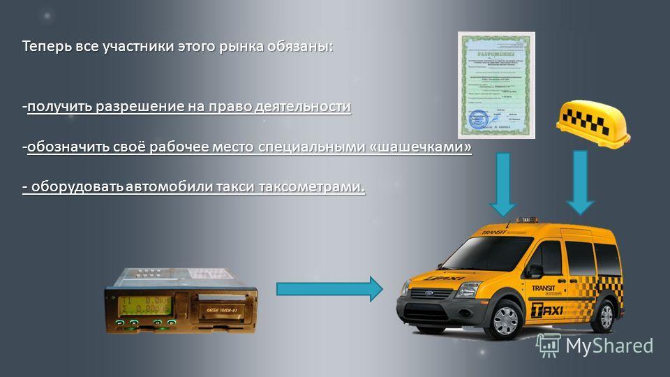 Теперь все участники этого рынка обязаны : -получить разрешение на право деятельности -обозначить своё рабочее место специальными « шашечками » - оборудовать автомобили такси таксометрами.