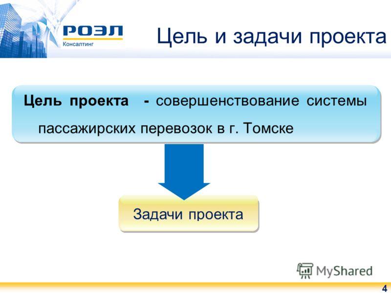 Цель и задачи проекта 4 Цель проекта - совершенствование системы пассажирских перевозок в г. Томске Задачи проекта