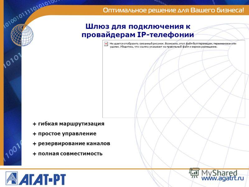 Шлюз для подключения к провайдерам IP-телефонии + гибкая маршрутизация + простое управление + резервирование каналов + полная совместимость