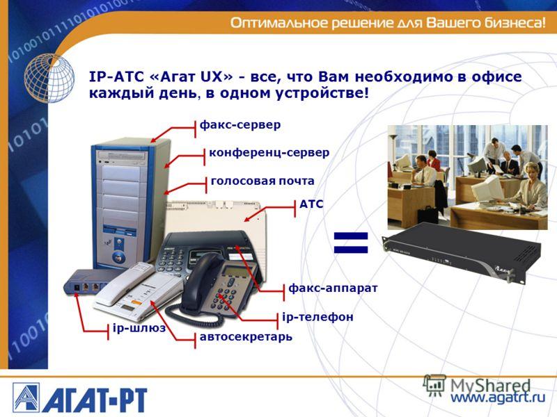 IP-АТС «Агат UX» - все, что Вам необходимо в офисе каждый день, в одном устройстве! = факс-сервер конференц-сервер голосовая почта АТС факс-аппарат ip-телефон ip-шлюз автосекретарь