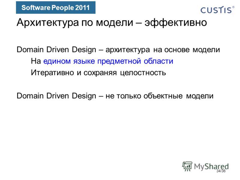 Software People 2011 Архитектура по модели – эффективно Domain Driven Design – архитектура на основе модели На едином языке предметной области Итеративно и сохраняя целостность Domain Driven Design – не только объектные модели 34/36