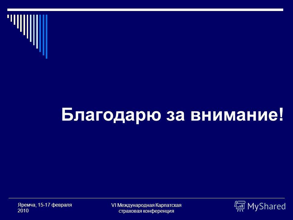 VI Международная Карпатская страховая конференция Яремча, 15-17 февраля 2010 Благодарю за внимание!