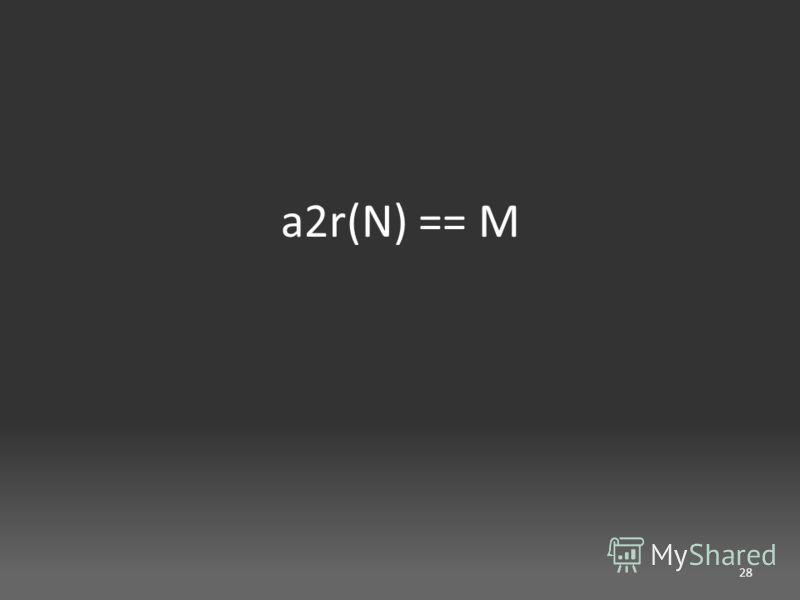a2r(N) == M 28