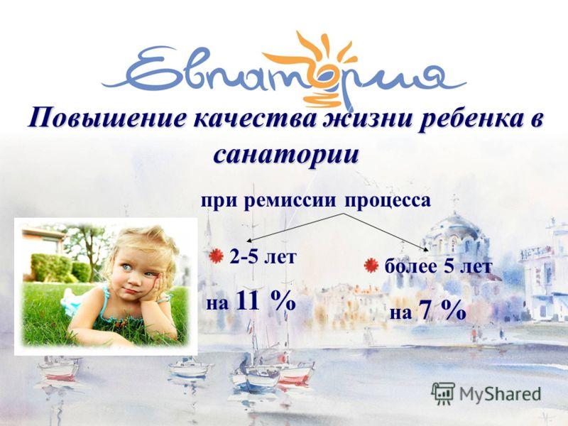Повышение качества жизни ребенка в санатории при ремиссии процесса Онкологические заболевания более 5 лет на 7 % 2-5 лет на 11 %