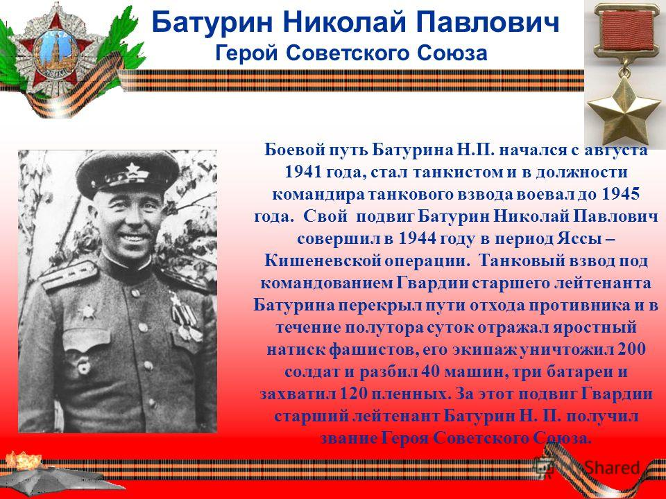 Батурин Николай Павлович Герой Советского Союза Боевой путь Батурина Н.П. начался с августа 1941 года, стал танкистом и в должности командира танкового взвода воевал до 1945 года. Свой подвиг Батурин Николай Павлович совершил в 1944 году в период Ясс