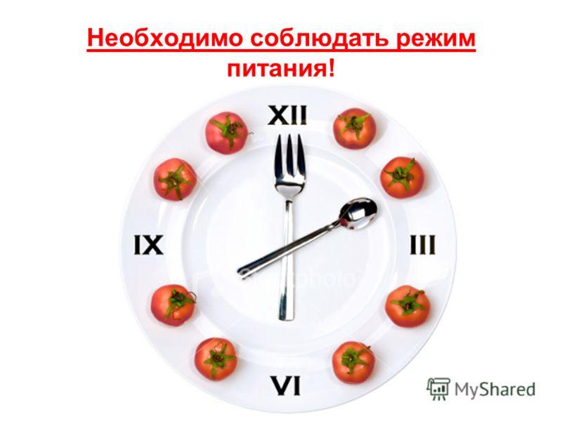 Необходимо соблюдать режим питания!