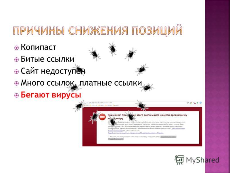 Копипаст Битые ссылки Сайт недоступен Много ссылок, платные ссылки Бегают вирусы