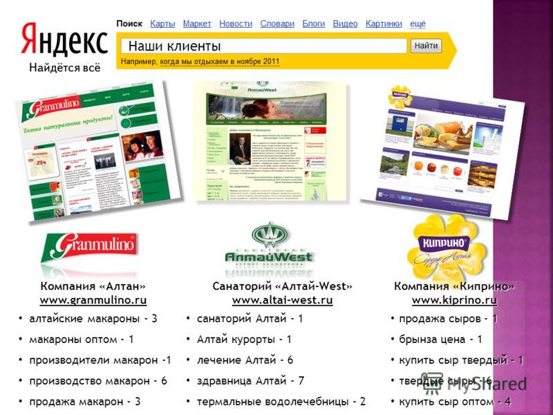 Наши клиенты Компания «Алтан» www.granmulino.ru алтайские макароны - 3 макароны оптом - 1 производители макарон -1 производство макарон - 6 продажа макарон - 3 Санаторий «Алтай-West» www.altai-west.ru санаторий Алтай - 1 Алтай курорты - 1 лечение Алт
