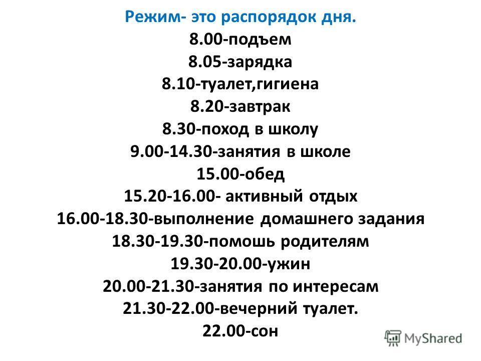 Режим- это распорядок дня. 8.00-подъем 8.05-зарядка 8.10-туалет,гигиена 8.20-завтрак 8.30-поход в школу 9.00-14.30-занятия в школе 15.00-обед 15.20-16.00- активный отдых 16.00-18.30-выполнение домашнего задания 18.30-19.30-помошь родителям 19.30-20.0