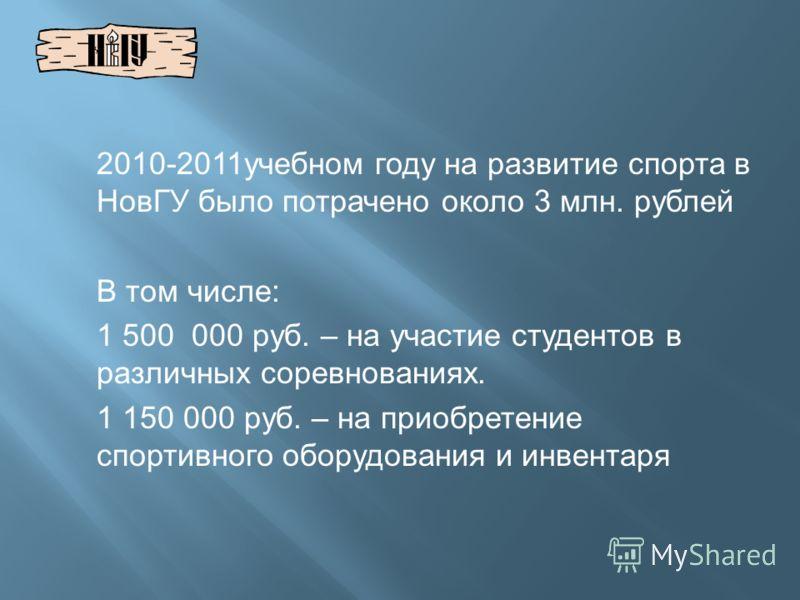 2010-2011 учебном году на развитие спорта в НовГУ было потрачено около 3 млн. рублей В том числе : 1 500 000 руб. – на участие студентов в различных соревнованиях. 1 150 000 руб. – на приобретение спортивного оборудования и инвентаря