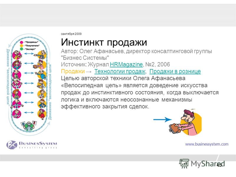 45 сентября 2009 Инстинкт продажи Автор: Олег Афанасьев, директор консалтинговой группы