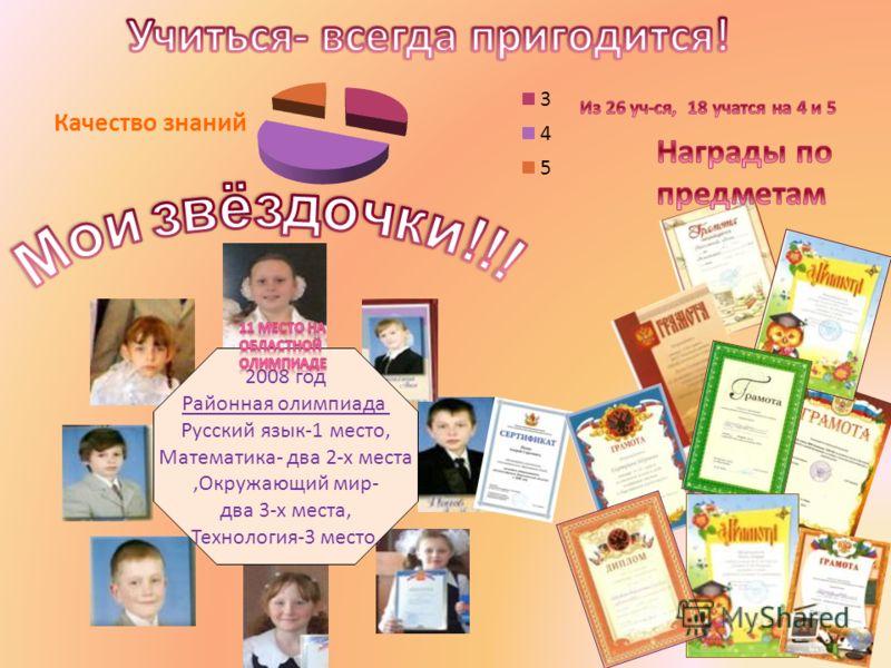 2008 год Районная олимпиада Русский язык-1 место, Математика- два 2-х места,Окружающий мир- два 3-х места, Технология-3 место,