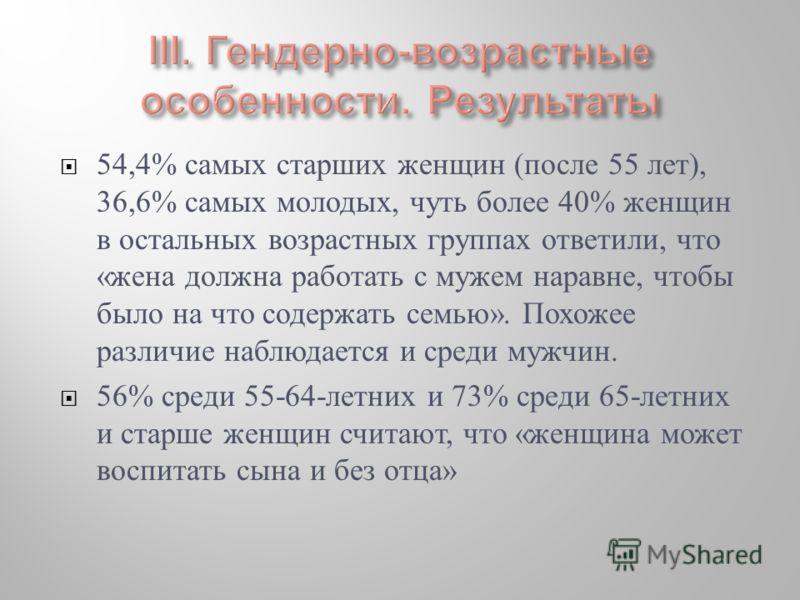 54,4% самых старших женщин (после 55 лет), 36,6% самых молодых, чуть более 40% женщин в остальных возрастных группах ответили, что «жена должна работать с мужем наравне, чтобы было на что содержать семью». Похожее различие наблюдается и среди мужчин.