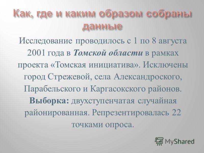 Исследование проводилось с 1 по 8 августа 2001 года в Томской области в рамках проекта «Томская инициатива». Исключены город Стрежевой, села Александроского, Парабельского и Каргасокского районов. Выборка: двухступенчатая случайная районированная. Ре
